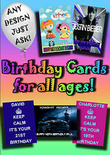 PERSONALISED birthday card. Large A5 size 100s of designs inc disney greetings..