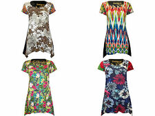 Desigual round neck short sleeve 100% cotton waterfall top choice of 4 prints