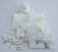 Personalised Baby Shower Gifts for guests - wine glass charms. Choose charms