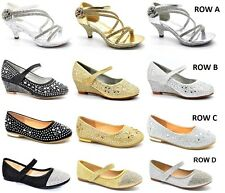 KIDS CHILDRENS GIRLS HIGH MID HEEL DIAMANTE PARTY  BRIDESMAID SANDALS SHOES SIZE