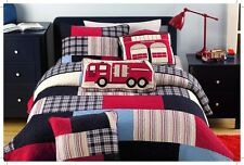 Kids Boy Bright Colorful Twin Queen Cotton Firetruck Patchwork Quilt Set