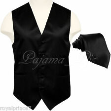 10-B BLACK Solid Tuxedo Suit Vest Waistcoat and Neck tie Prom Wedding Party