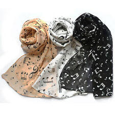 Women Lady Musical Note Chiffon Neck Scarf Shawl Muffler Wrap Warm Pashmina New