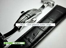 Watch GENUINE leather BLACK Strap Band Butterfly Deployment Buckle 18,19,20,22mm