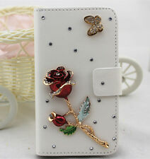 Diamonds butterfly red rose PU leather slot wallet case skin cover for Samsung