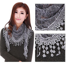 Women Fashion Triangle Wrap Lady Shawl Lace Sheer Floral Print Scarf Scarves New