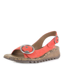 WOMENS FLY LONDON TRAM NUBUCK LEATHER DEVIL RED SLINGBACK SANDALS SHOES SIZE