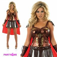 LADIES GLADIATOR FANCY DRESS COSTUME XENA WARRIOR PRINCESS OUTFIT ROMAN SPARTAN