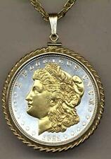 Morgan Silver Dollar (minted 1878 - 1921) Silver & Gold Plated Coin Necklace