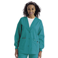 Scrubs Landau Womens Cardigan Warm-Up Jacket 7535 Teal FREE SHIPPING!