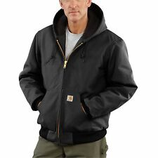 Carhartt Duck Active Jacket Quilted Flannel Lined Black J140 BLK