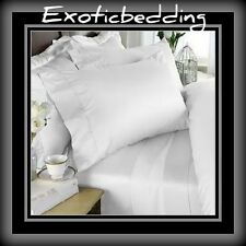 White Solid 4-Piece Bed Sheet Set 1200 Thread Count Egyptian Cotton
