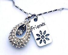 PERSONALISED LUXURY FRIENDSHIP BEST FRIENDS FOR EVER BFF CRYSTAL NECKLACE IN BOX