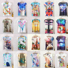 Women Casual Graphic Printed T-Shirt Loose Sleeve Tee Blouse Tops Basic Shirts