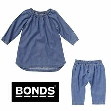 BONDS BABY GIRL BOY SUMMER DENIM DRESS / PANTS OUTFIT CHAMBRAY SIZE 00 0 1 2