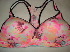 Victoria's Secret Love Pink Yoga Sports Bra push up pink hibiscus pattern