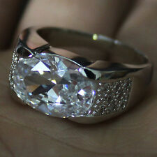 Size 9,10,11 Classic Mens Jewelry White Sapphire 10KT White Gold Filled Gem Ring