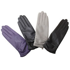 WARMEN Luxury Women Genuine Nappa Leather Winter Warm Ruched Lined Gloves