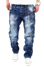 New Mens KM263 Kosmo Lupo Designer Embroidered Denim Blue Jeans Waist Size 30 38
