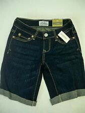 "Aeropostale Women's Juniors dark blue bermuda denim shorts 9""inseam"