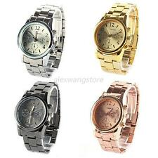 Casual Unisex Women Stainless Steel Quartz Ladies Wrist Watch Silver Gold Rose