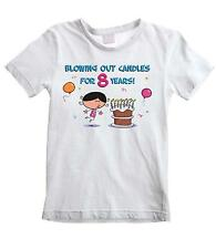 BLOWING OUT CANDLES FOR 8 YEARS GIRLS T-SHIRT - 8th Birthday Present Gift Party