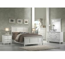 White Bedroom Collection King Queen Panel Bed Set Wood Furniture Dresser Mirror