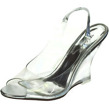 FABULICIOUS Clear High Heels Wedge Sling Back Sandal Shoes LOVELY-450 Silver