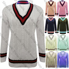 New Womens Ladies Knitted V Neck Cable Sweater Stretchy Long Cricket Jumper Top