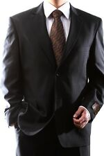 MENS SINGLE BREASTED 2 BUTTON BLACK DRESS SUIT BIG & TALL, PL-60212N-201-BLK-BT