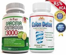 MOST POTENT 85%HCA GARCINIA CAMBOGIA+COLON DETOX/Cleanse/WEIGHT LOSS FAT BURNER