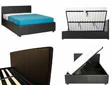 Seattle Side Lift Ottoman Bed - Single Double King - Black Brown - Faux Leather