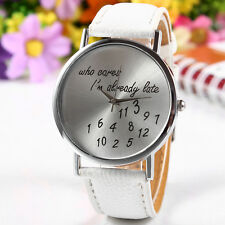 New Women's Men's Fashion Funny Who Cares I'm Already Late Comment Wrist Watches
