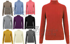 Womens Knitted Polo Neck Top Roll Turtleneck Jumper Sweater Long Sleeve Ribbed