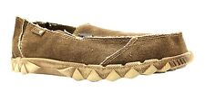 Hey Dude Farty Men's Nut Brown Canvas Slip On Moccasin Style Loafers New