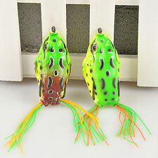 Green Large Frog Topwater Fishing Lure Crankbait Hooks Bass Bait Tackle L7S