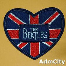 Union Jack Britain Uk Beatles Heart Flag Iron on Sew Embroidered Badge Patch