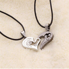 Stylish Sweet Couple Lovers Unique Heart Shape Stainless Steel Pendant Necklace
