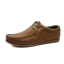 Mens Ikon River Tan Brown Leather Loafers Shoes