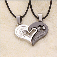 Unique Heart Shape Couple Lovers I Love You Stainless Steel Pendant Necklace New