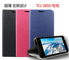 PU leather Cover Case Pouch +Film For Alcatel One Touch Idol Ultra OT-6033X 6033