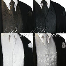 XS to 6XL Paisley Design Tuxedo Suit Dress Vest Waistcoat & Necktie Set Wedding