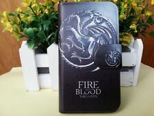 FIRE AND BLOOD Dragon 3 Head Game of Thrones PU Leather Flip Case Cover For HTC