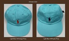 NWT $35 POLO RALPH LAUREN HAT CAP BALL Mens PONY One Size Adjusts Light Blue New