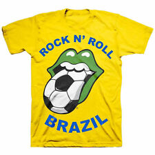 New: Rolling Stones - Yellow Brazil Soccer World Cup Tongue Concert T-Shirt [X]