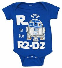 R Is For R2-D2 Star Wars Onesie Onesey Baby Infant R2D2 Droid Alphabet Blue New