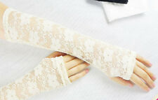 Charm Trendy  Women Lace Flower Fashion Vintage Shading Long Fingerless Glove