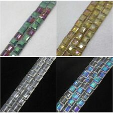 7x13mm Faceted Glass Square Loose Beads 22pcs