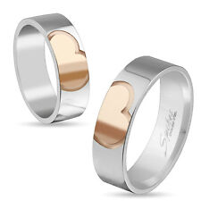 New 316L Stainless Steel Silver/Rose Gold Heart Couple Band Ring,Size 5-12(4144)