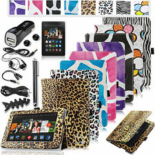 """For Amazon Kindle Fire HDX 7 7"""" 2013 PU Leather Stand Case Cover+10in1 Accessory"""